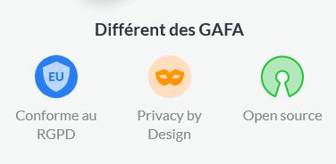Différent des GAFA: conforme au RGPD, privacy by design, Open Source